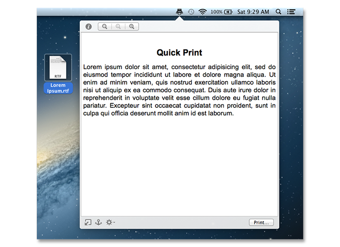 Quick Print shows text files